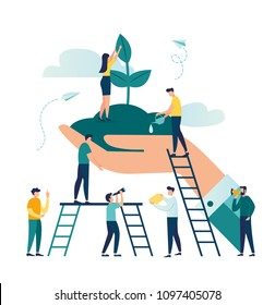Vector flat illustration, small people prepare for the holiday, save the planet from pollution, World Environment Day, Bio technology, in the big hand the earth with a plant