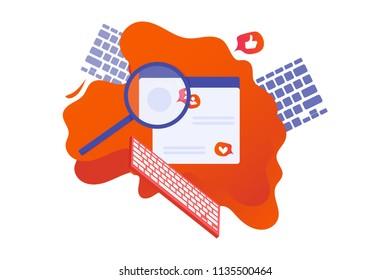 Vector flat illustration: social networking or internet surfing concept.