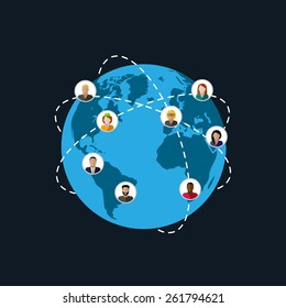 vector flat illustration of society members. population. modern society or global network concept. communication concept