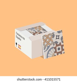 Vector Flat Illustration of the Spanish Ceramic Tile in Box.