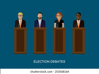vector flat  illustration of a speakers. politicians. election debates or press conference concept