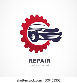 Vector flat illustration of sport car in gears cogs. Abstract logo design template. Concept for automobile repair service, spare parts store.