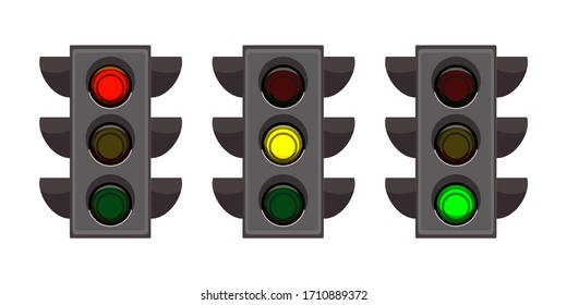 Vector flat Illustration of street traffic lights set. Red signal to stop, yellow signal to wait, green signal to go. Urban infrastructure, traffic rules, safety of driver and pedestrian at crosswalk
