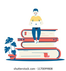 Vector flat illustration. Student studying with his laptop sitting on the stack of books. Online self education and university studies concept