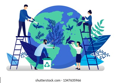 Vector flat illustration in flat style. Ecology concept. People are preparing for the holiday, saving the planet, World Environment Day, Bio technology, a city in the background of the planet.