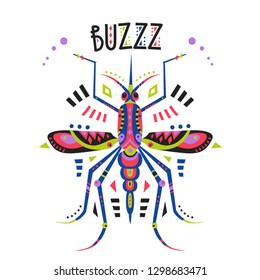 Vector flat illustration with stylized mosquito and lettering Buzzz