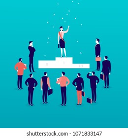 Vector flat illustration with successful business lady standing on podium in front of office men and businessmen crowd isolated. Gender equality, lady upwards. Success, respect, achievement - metaphor