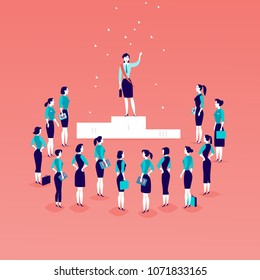 Vector flat illustration with successful business lady standing on podium in front of office women and business ladies crowd isolated. Gender equality, lady upwards. Success, respect,  - metaphor.