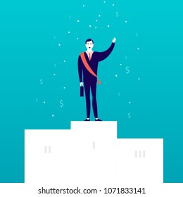 Vector flat illustration with successful businessman standing on white podium with money signs falling down isolated on blue background. Success, achievement, win, victory, wealth - metaphor.