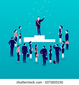 Vector flat illustration with successful businessman standing on podium in front of office people crowd isolated on blue background. Success, respect, achievement, win, victory, acceptance - metaphor.
