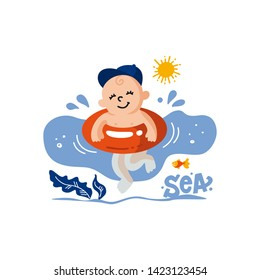 Vector flat illustration of sunburnt baby in  baseball cap in swimming goggles swims in the sea. Healthy and cheerful child swims. Summer print for t-shirts, cards, posters for the children's swimming