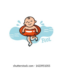 Vector flat illustration of sunburnt baby in swimming goggles swims in the sea. Healthy and cheerful child swims. Summer print for t-shirts, cards, posters for the children's swimming pool for newborn