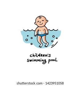 Vector flat illustration of sunburnt baby is swimming in the sea. Healthy and cheerful child swims. Summer print for t-shirts, cards, posters for the children's swimming pool for newborns.