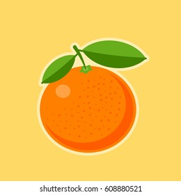 Vector flat illustration of a tangerine. Tropical healthy tasty citrus fruit icon. Sweet mandarin symbol isolated on yellow background. Fresh organic concept. Healthy food design element.