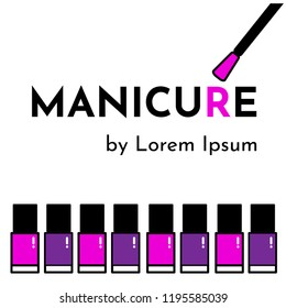 "Vector flat illustration template for business card to manicure and pedicure nail salon (studio or artist) with bottle of pink and violet nail polish and brush. Text ""Manicure by Lorem Ipsum"""
