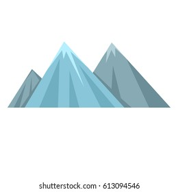Vector Flat Illustration - Three Mountains on White Background