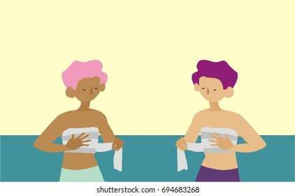 Vector flat illustration: transgender people. Two trans-persons or genderqueer people, black person and brown person, wearing chest binder, roller bandage, hand is on breasts