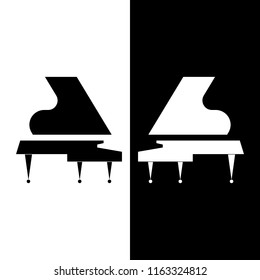 Vector flat illustration of two musical instruments. Silhouettes of white and black Grand piano. Black and white composition. Ideal for catalogs, information, piano lessons, concerts or music store.