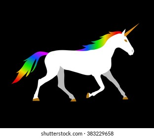 Vector flat illustration of unicorn on black background. Element for design.