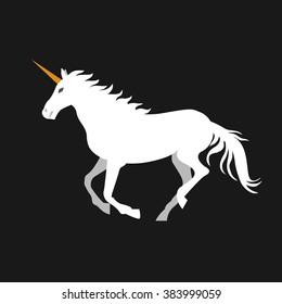 Vector flat illustration of unicorn on black background. Element for design.