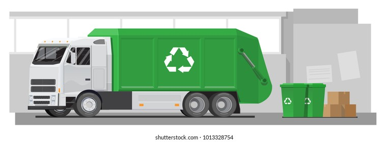 Vector flat illustration urban garbage truck, garbage collection, green car, container, garbage, city service, street.