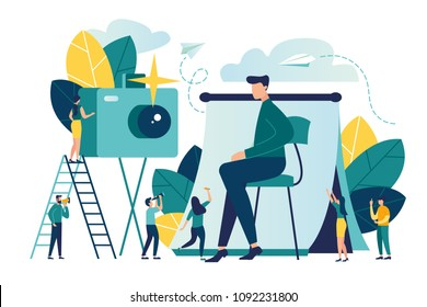 vector flat illustration, urgent photo for documents in the studio, a mirror lens with a flash, professional photo shooting