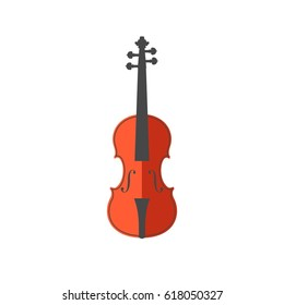 Vector flat illustration of violin on white background. Element for design for musical theme. Orange, brown, grey, black, white colors.
