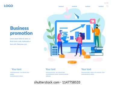 Vector flat illustration, for web page, banner, presentation, social media, documents, cards, posters.business promotion, take-off on the career ladder, data analysis and investment infographics