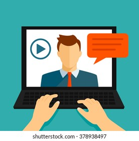Vector flat illustration of webinar, online conference, lectures and training in internet.  flat vector illustration isolated