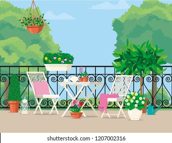 Vector flat illustration. White garden furniture on the balcony decorated with pots of flowers.