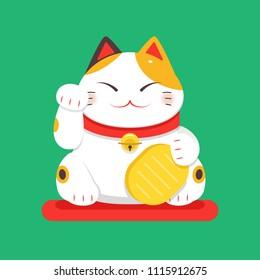 Vector flat Illustration, White Maneki Neko raised right paw
