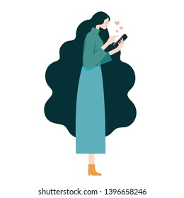 Vector flat Illustration, Woman chatting love message on mobile phone side view on white background