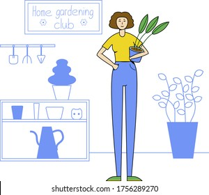 "Vector flat illustration, woman with a pot plant in her hand is standing at the home garden workplace with a poster ""Home Gardening Club"" on the wall."