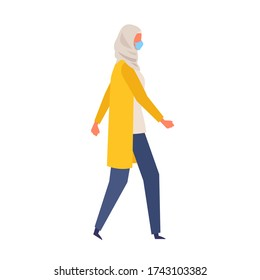 Vector flat illustration of woman wearing a surgical mask. The illustration for the topic of coronavirus; flu and cold. Vector illustration in flat style.