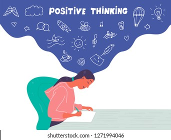 Vector flat  illustration of woman who paints a picture. A girl is surrounded by a big set of icons symbolizing creativity and dreams.Positive thinking concept. Outline icon and motivation for art.