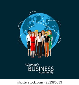 vector flat illustration of women business community. a group of women (business women or politicians). summit or conference family image. global business concept