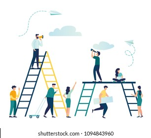 Vector flat illustration, workflow, ladder as the concept of achieving the goal, business development, construction site