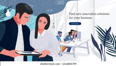 Vector flat illustration of workflow in the office, a group of businessmen working at the computer, and another part of marketers discussing marketing solutions and business plans.
