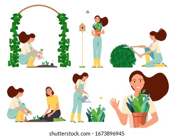 Vector flat illustration of a working woman in the garden.