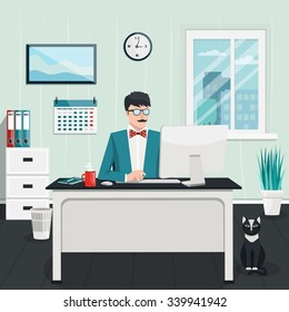 Vector flat illustration. Workplace concept. Modern office interior