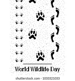 Vector flat Illustration of World Wildlife Day with Animal Footprint and Human Footprint