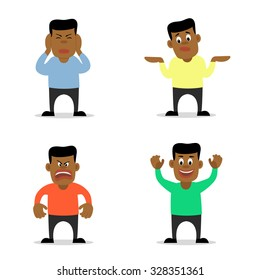 Vector flat illustration of young african man in four different poses and emotions - angry, shrugging, ignoring and cheering. Cartoon character in trendy design on isolated background.