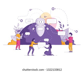 Vector Flat Illustration. Young People Send Text Message and Girl Write Letter Friend. Chat Bot Secure Communication on Internet Control Sending Notifications and Eliminating Errors.