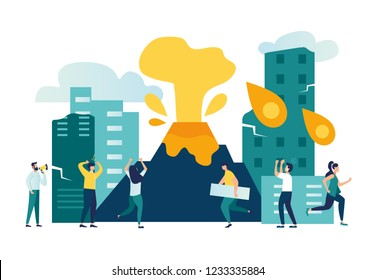 Vector flat illustrations, cataclysmic catastrophe in the city, volcanic eruption, people flee