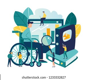 Vector flat illustrations, online courses for employees with disabilities, advanced training, analysis of infographics.