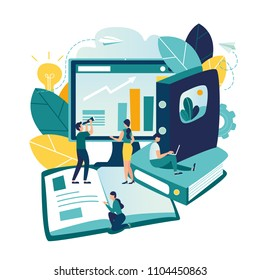 Vector flat illustrations, online training courses for employees, advanced training, analysis of infographics