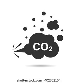 Vector flat image. carbon dioxide, co 2 ,cloud, smog