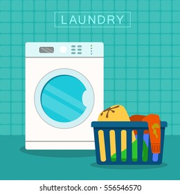 Vector Flat image icon of loundry basket with dirty clothes with Washer