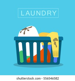 Vector Flat image icon of loundry basket with dirty clothes