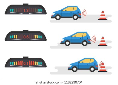 Vector flat infographic of car parktronic system. Three position of vehicle and signal of electronic device. The car goes back to the warning cone. Modern technologies for motorists